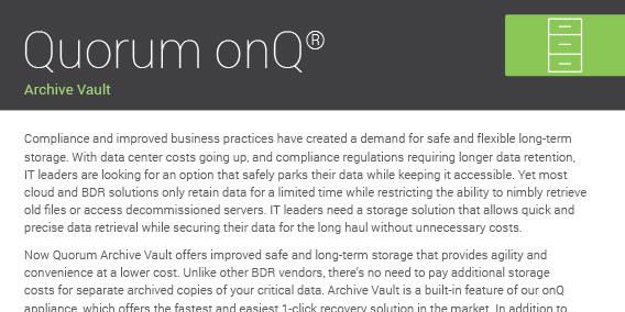 Quorum Data Archive Vault Cover 112918A