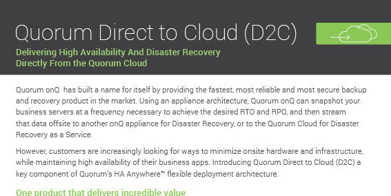 Quorum Direct To Cloud Cover 112918A